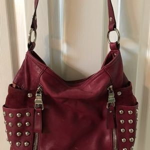 b. makowsky Burgundy Red Leather Hobo bag